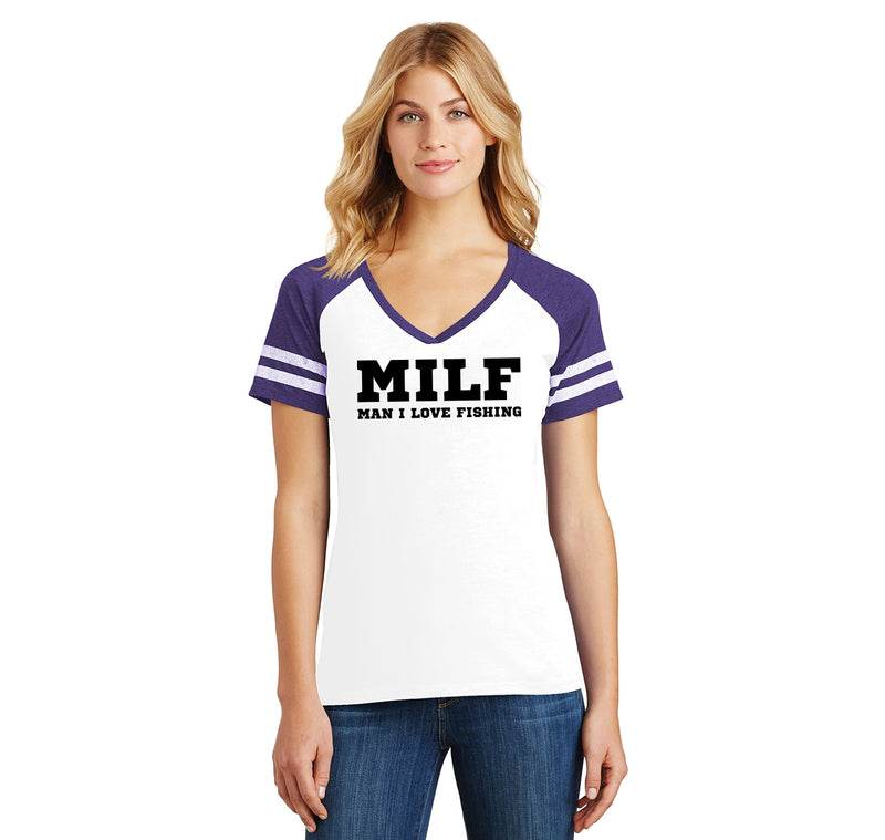 MILF Man I Love Fishing Ladies Short Sleeve Game V-Neck Shirt