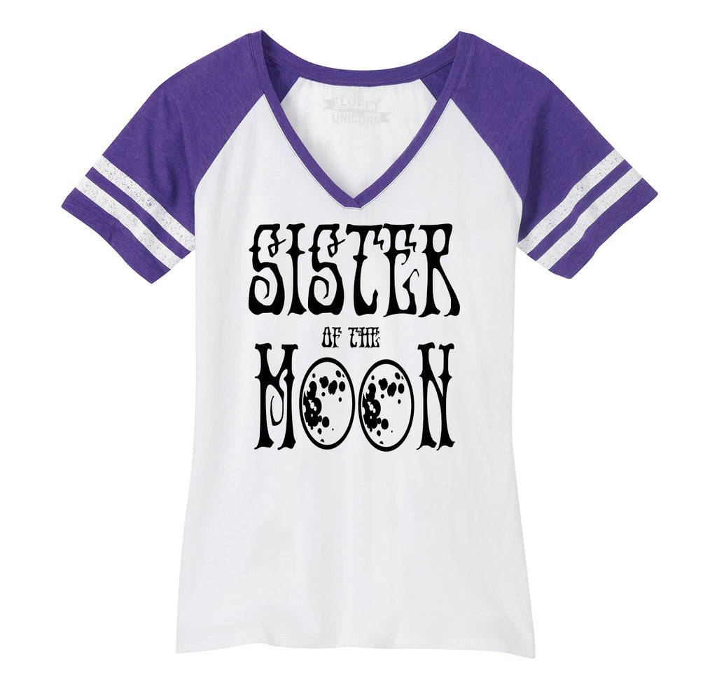 Sister Of The Moon Ladies Short Sleeve Game V-Neck Shirt