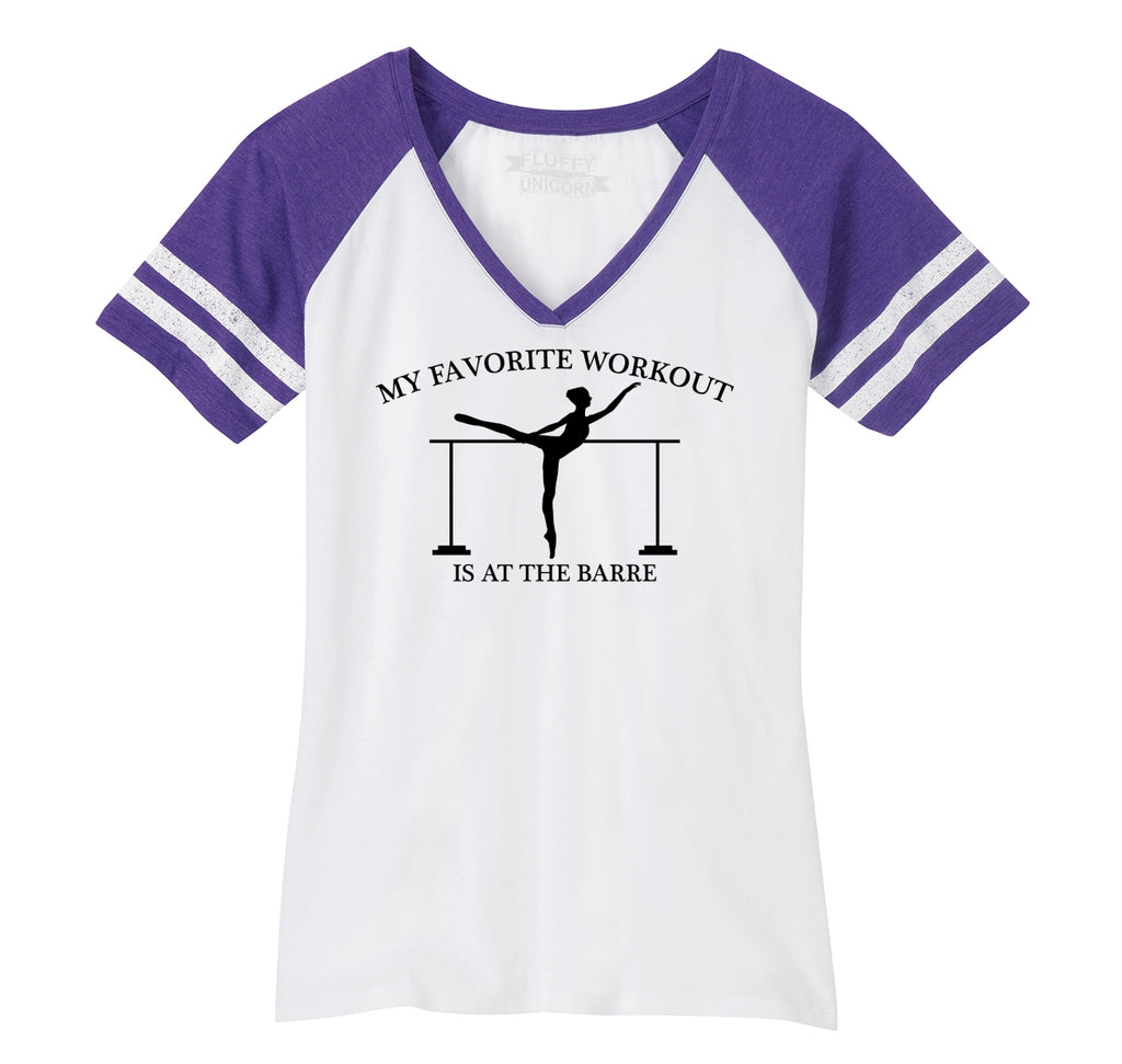 Favorite Workout At The Barre Ladies Short Sleeve Game V-Neck Shirt
