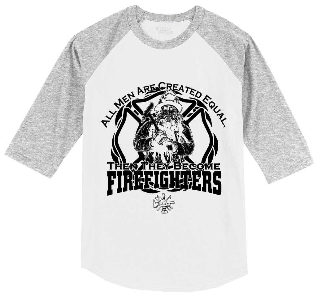 Men Are Created Equal Firefighter Mens 3/4 Sleeve Raglan Jersey