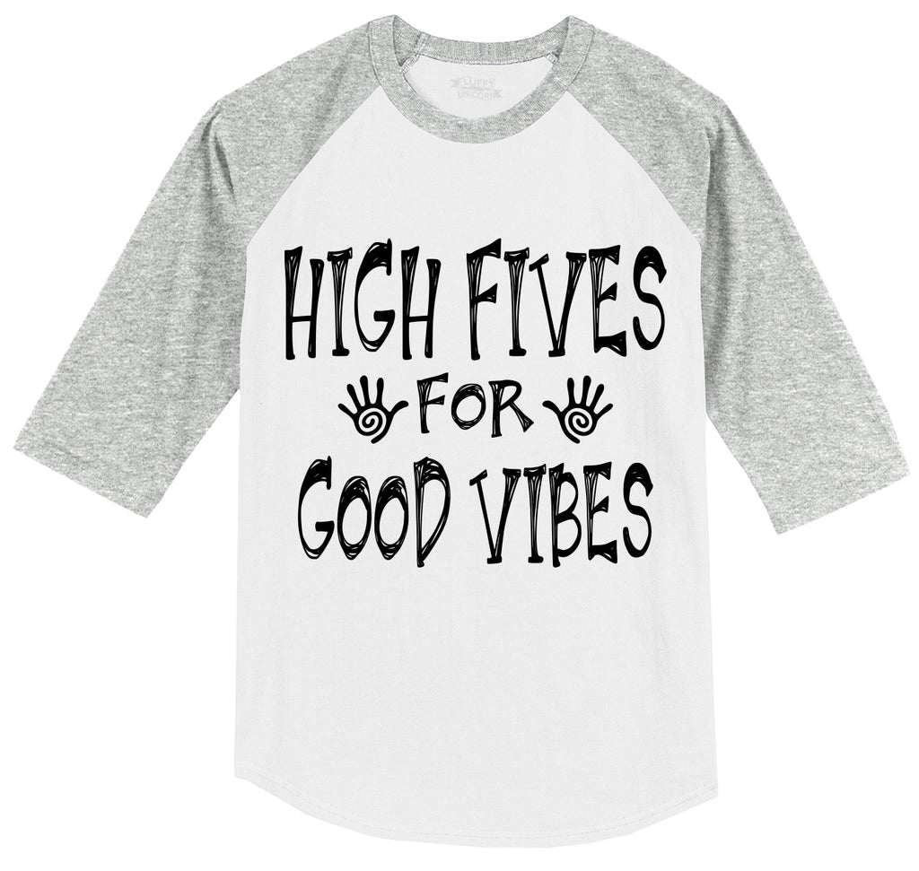 High Five For Good Vibes Funny Party Tee College Humor Tee Mens 3/4 Sleeve Raglan Jersey