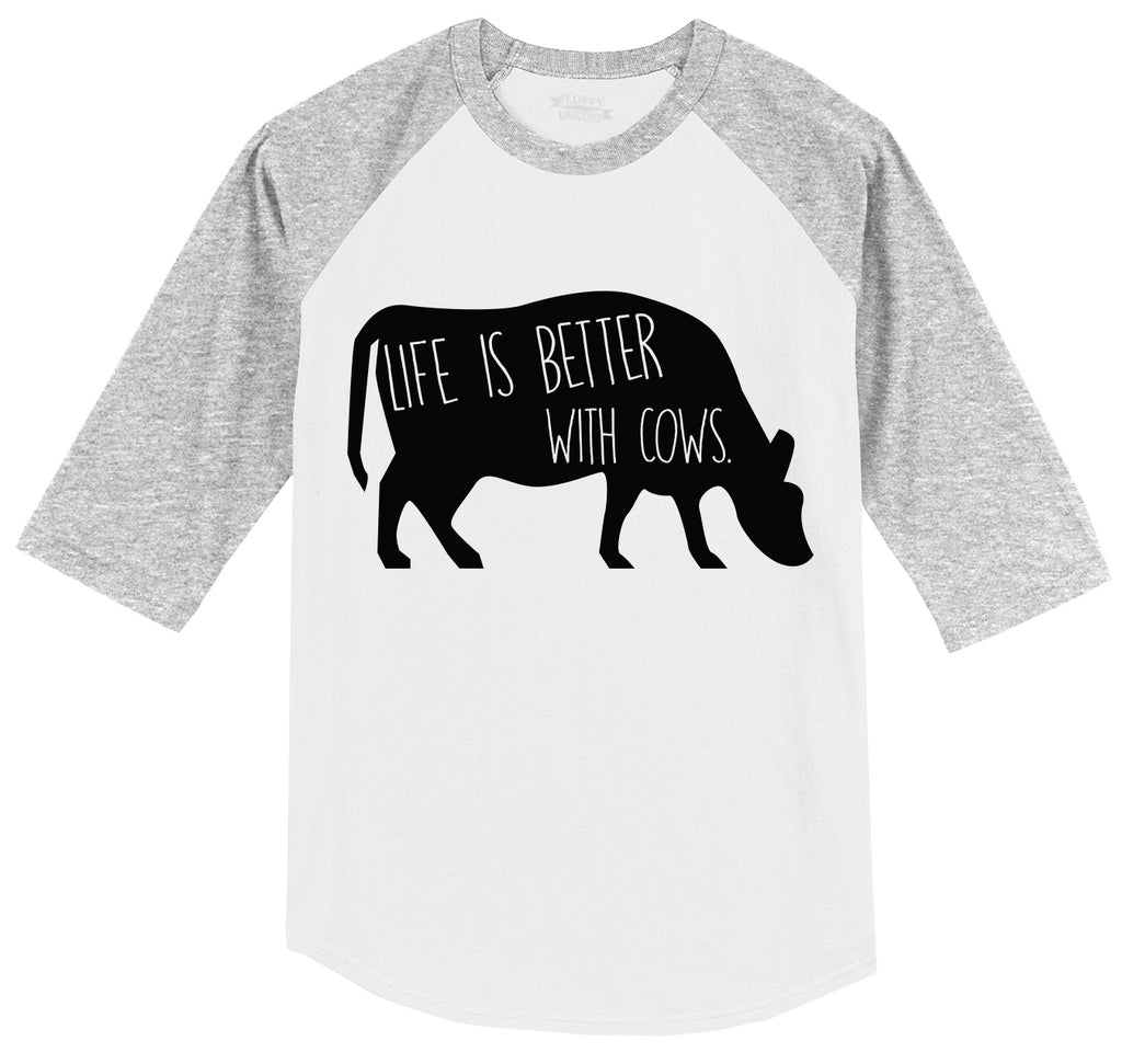 Life Is Better With Cows Mens 3/4 Sleeve Raglan Jersey