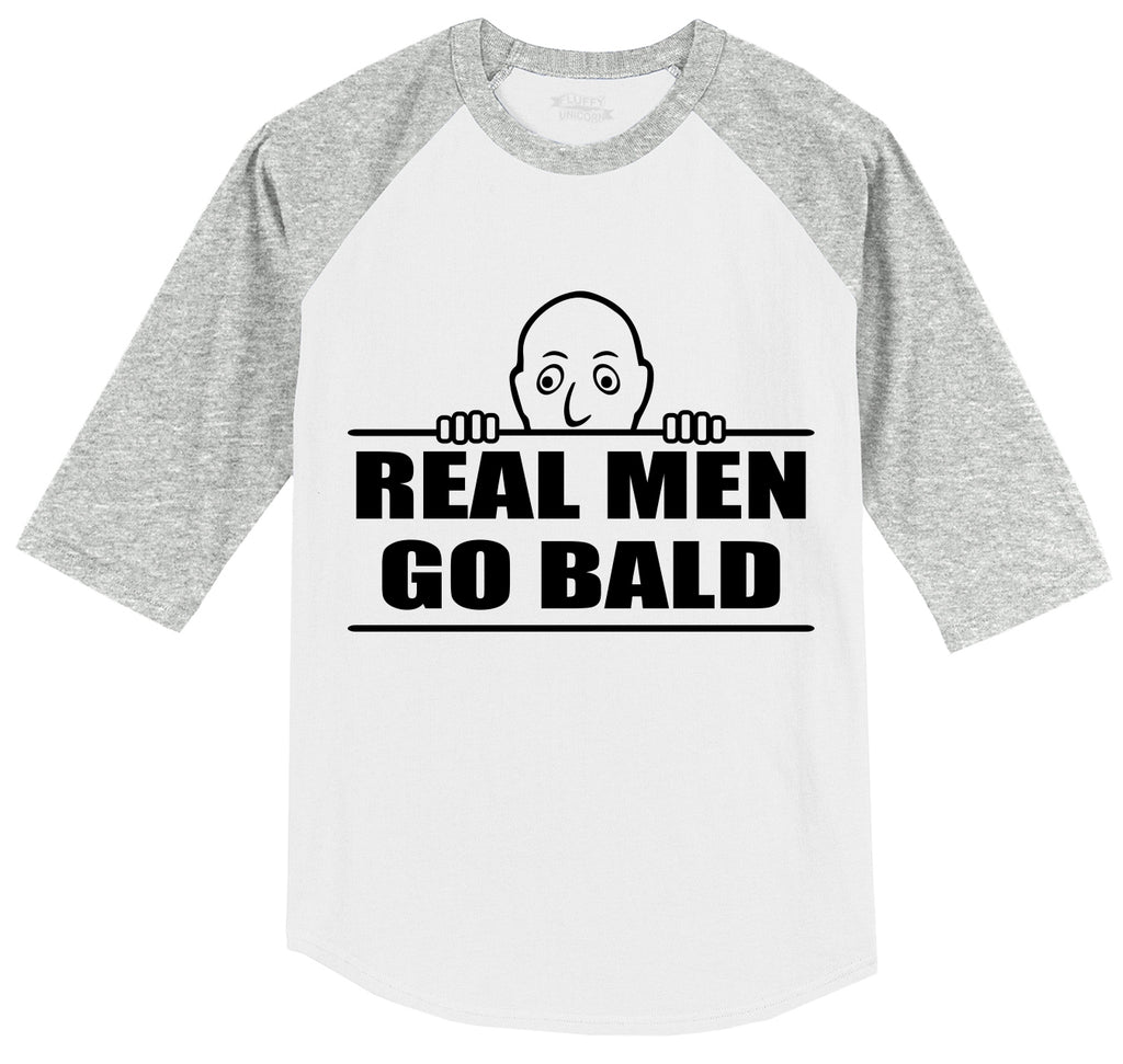 Real Men Go Bald Mens 3/4 Sleeve Raglan Jersey