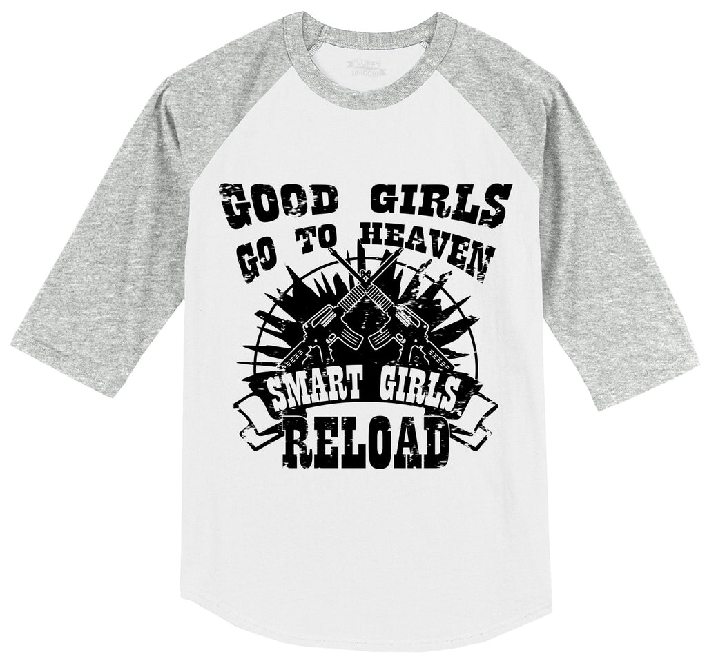 Good Girls Go Heaven, Smart Reload Mens 3/4 Sleeve Raglan Jersey