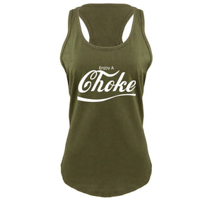 Enjoy A Choke Parody Ladies Gathered Racerback Tank Top