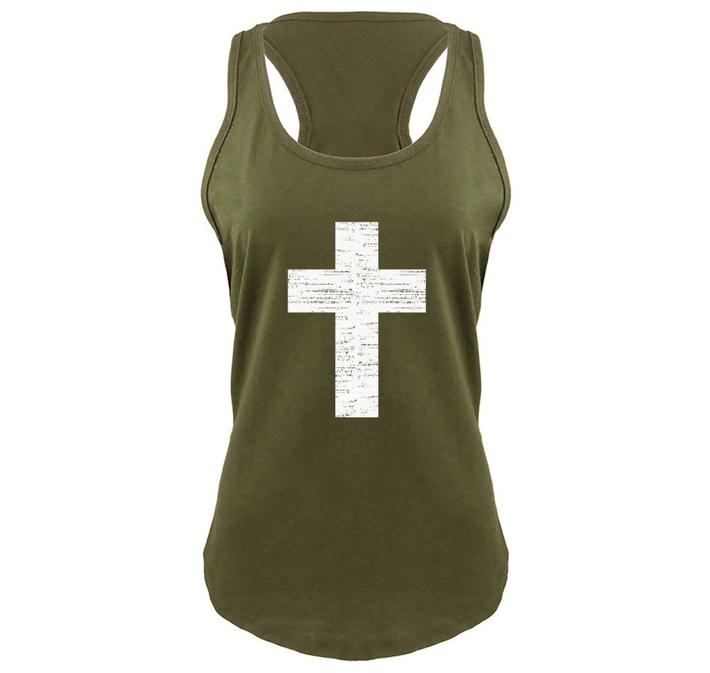 Distressed Cross Ladies Gathered Racerback Tank Top