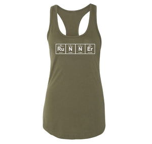 Runner - Periodic Table Of Elements Ladies Racerback Tank Top