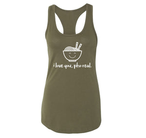 I Love You Pho Real Funny Asian Chinese Food Graphic Tee Ladies Racerback Tank Top