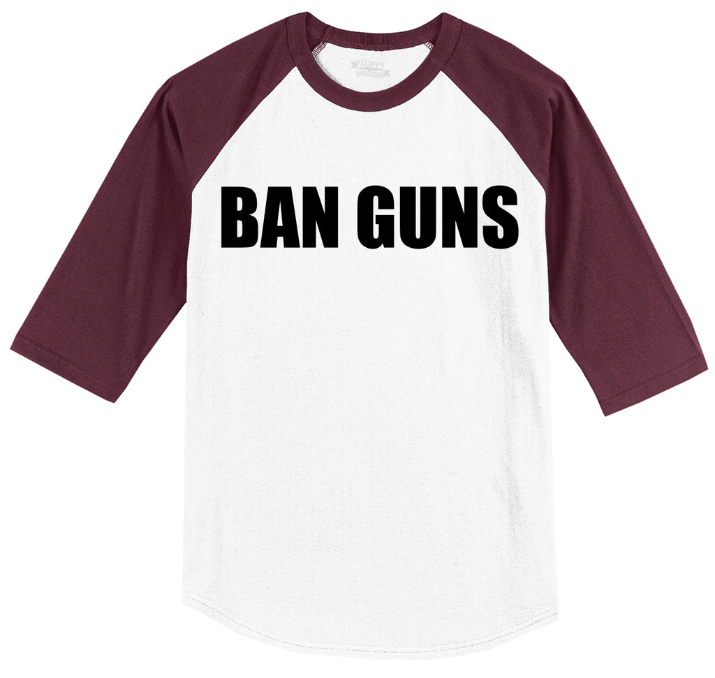 Ban Guns Mens 3/4 Sleeve Raglan Jersey