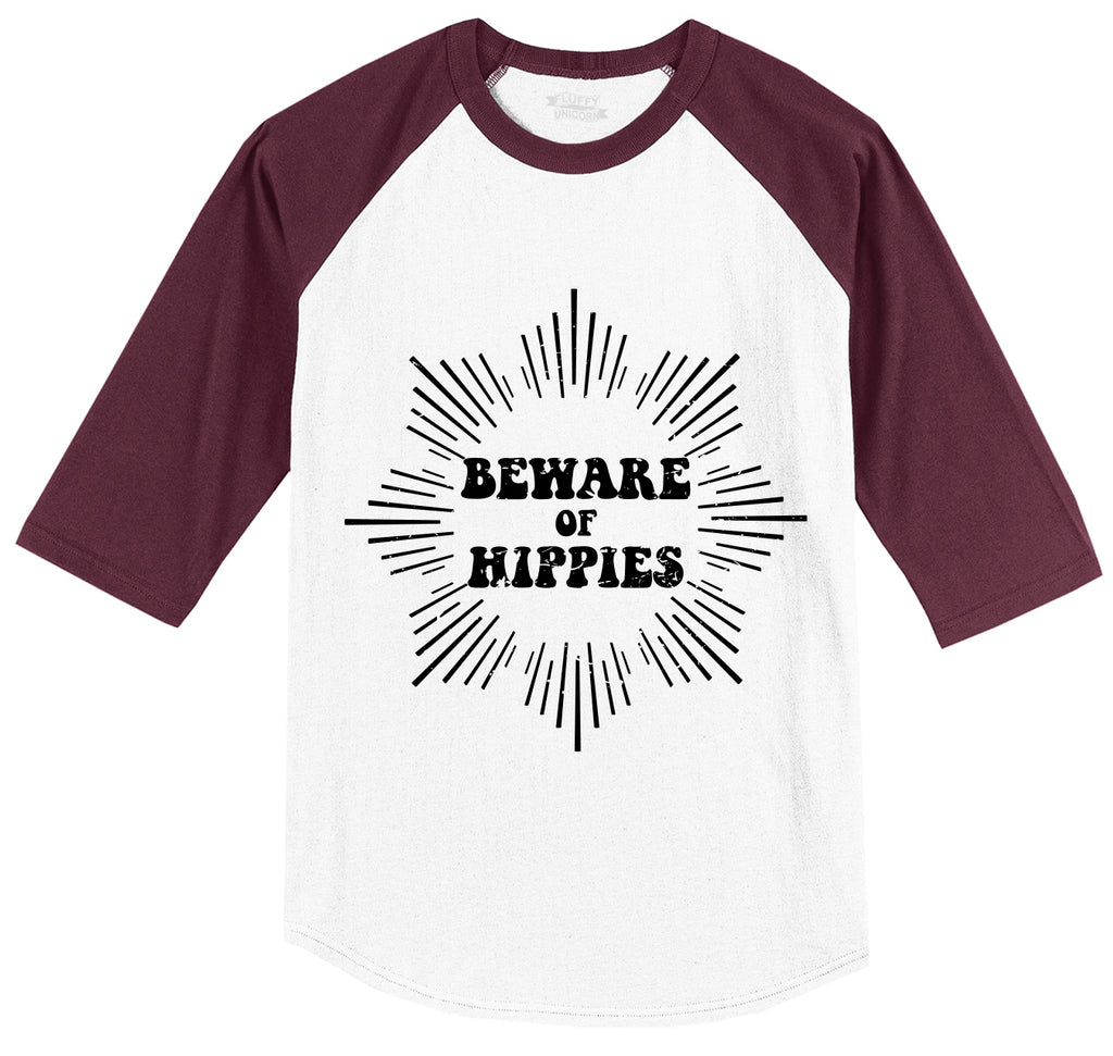 Beware Of Hippies Mens 3/4 Sleeve Raglan Jersey