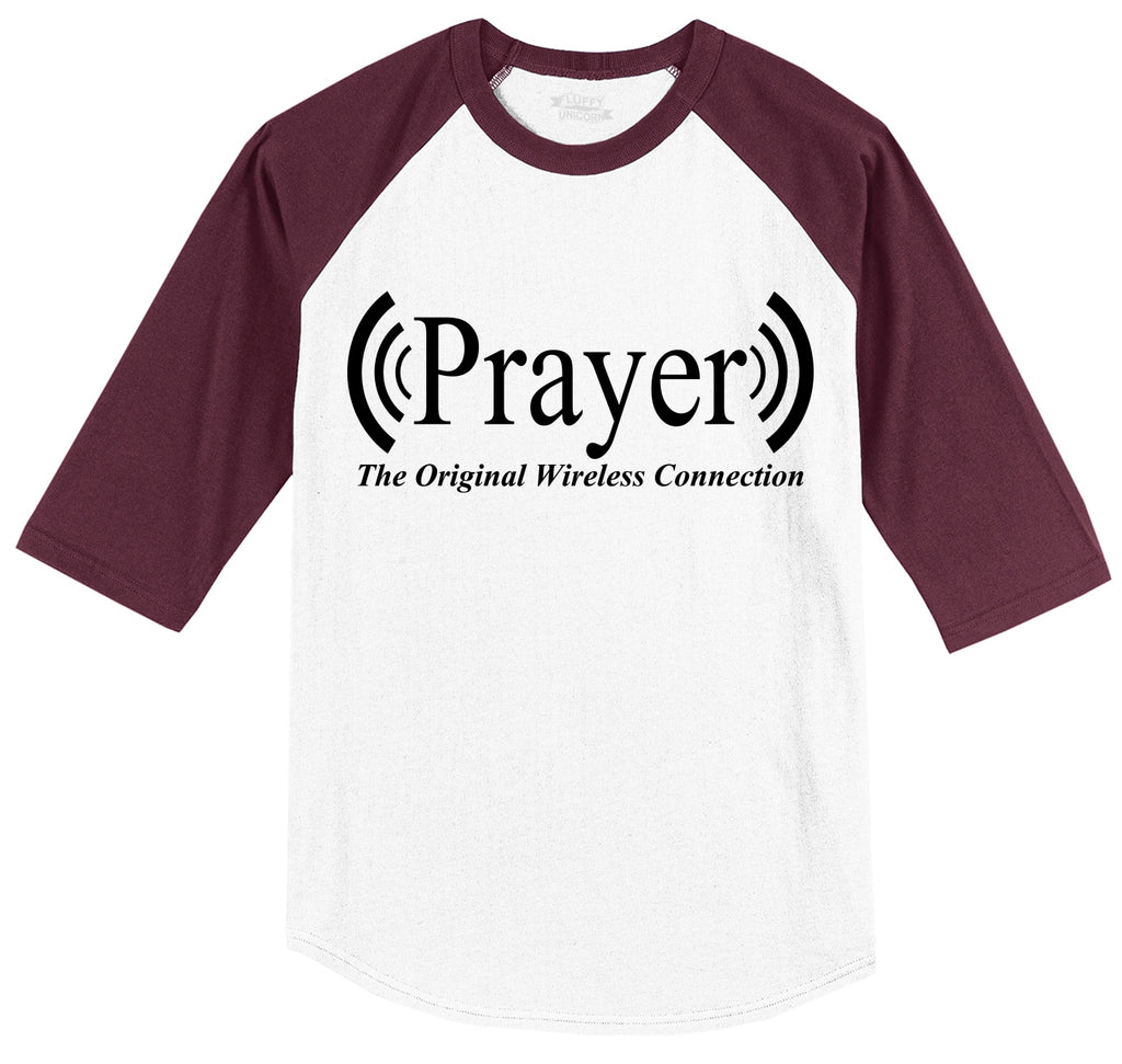 Prayer The Original Wireless Connection Mens 3/4 Sleeve Raglan Jersey