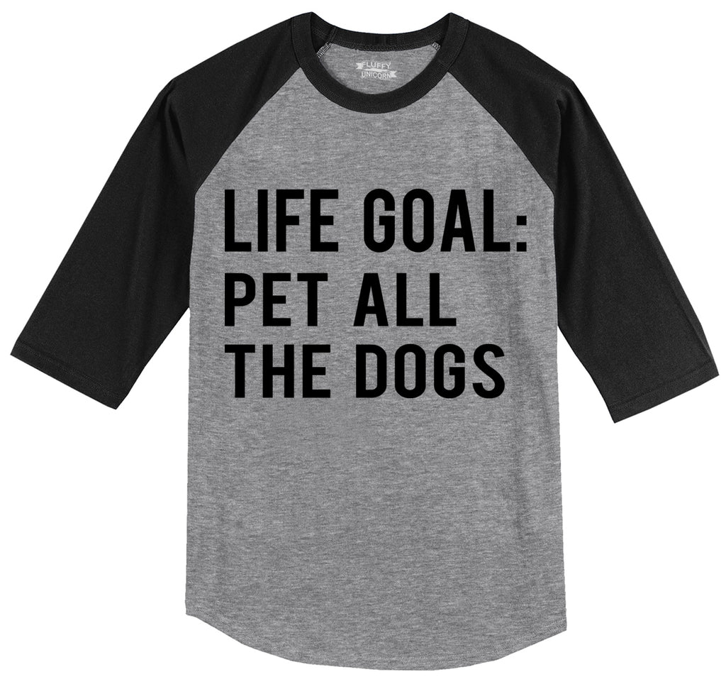 Life Goal Pet All The Dogs Mens 3/4 Sleeve Raglan Jersey