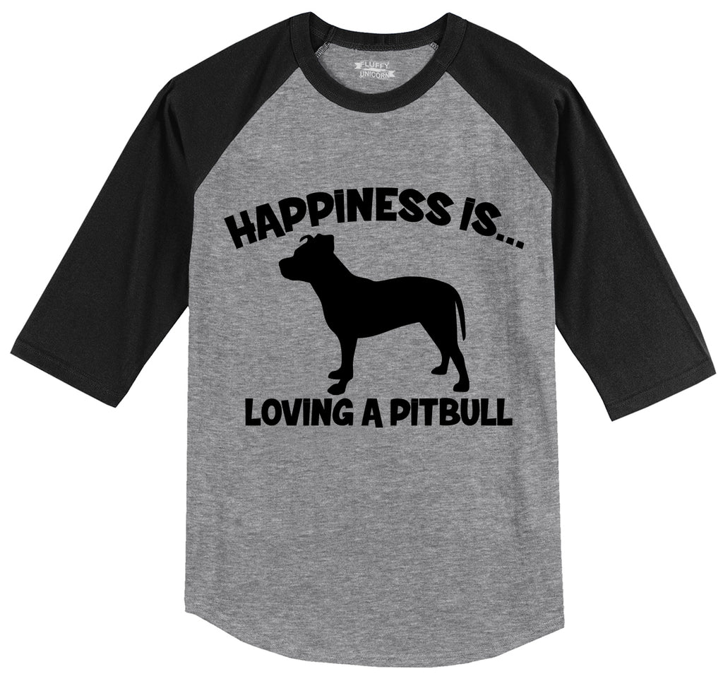 Happiness Is Loving A Pitbull Mens 3/4 Sleeve Raglan Jersey