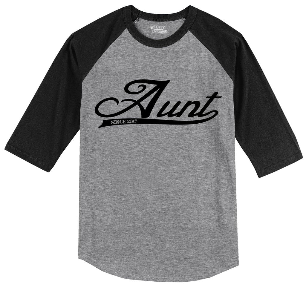 Aunt Since 2017 Cute New Baby Gift Aunt Sister Shirt Mens 3/4 Sleeve Raglan Jersey