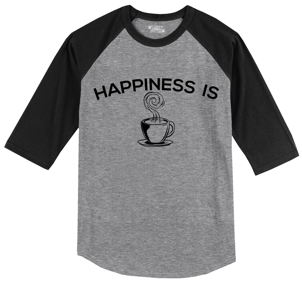 Happiness Is Coffee Mens 3/4 Sleeve Raglan Jersey
