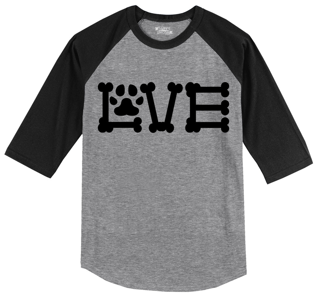 Love Dogs Dog Bone Puppy Lover Mens 3/4 Sleeve Raglan Jersey