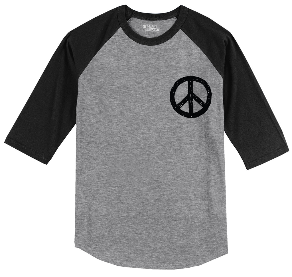 Peace Chest Print Peace & Love Tee Mens 3/4 Sleeve Raglan Jersey