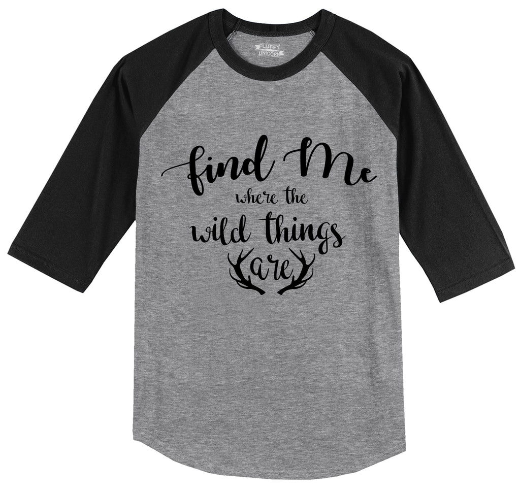 Find Me Where The Wild Things Are Mens 3/4 Sleeve Raglan Jersey