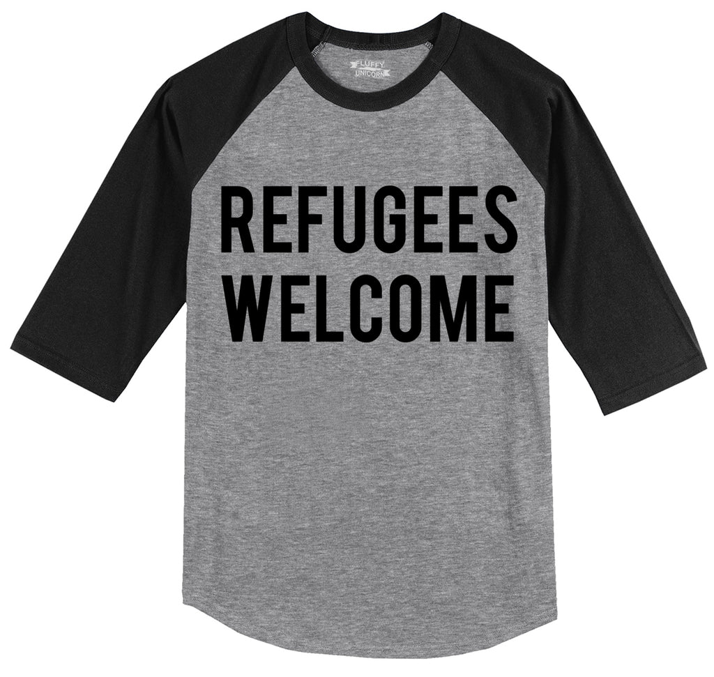 Refugees Welcome Tee Anti Trump Protest Muslim Peace USA Tee Mens 3/4 Sleeve Raglan Jersey