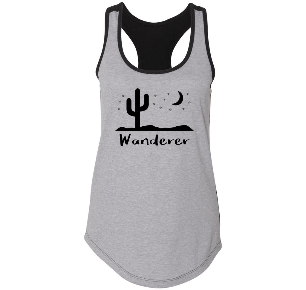 Wanderer Graphic Tee Ladies Colorblock Racerback Tank Top