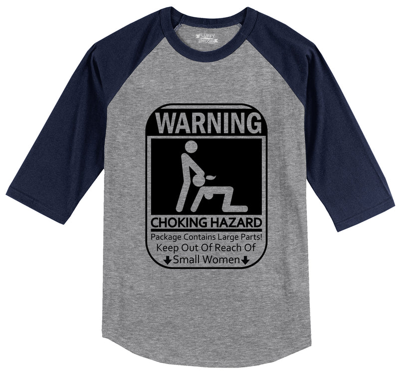 Warning Choking Hazard Large Parts Mens 3/4 Sleeve Raglan Jersey