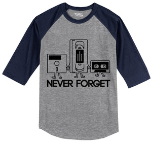 Never Forget Mens 3/4 Sleeve Raglan Jersey