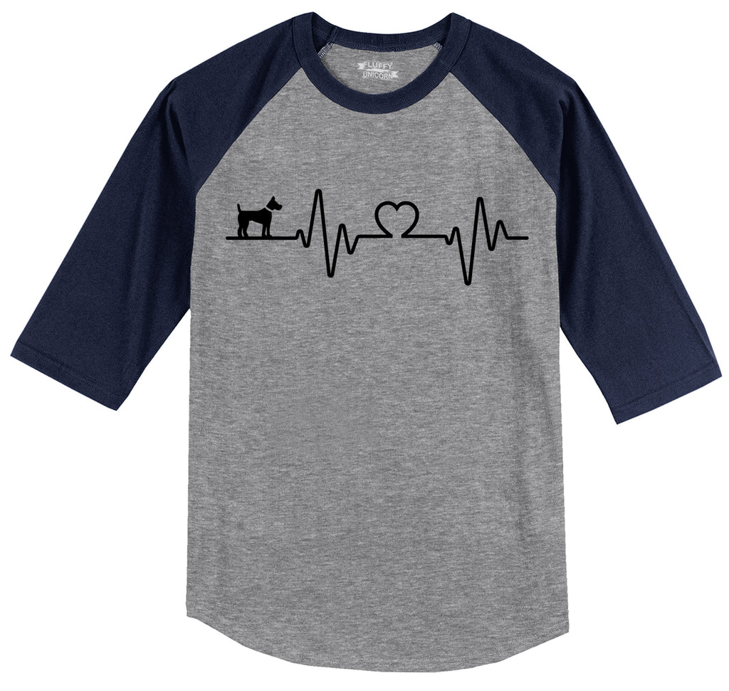 Dog Heartbeat Mens 3/4 Sleeve Raglan Jersey