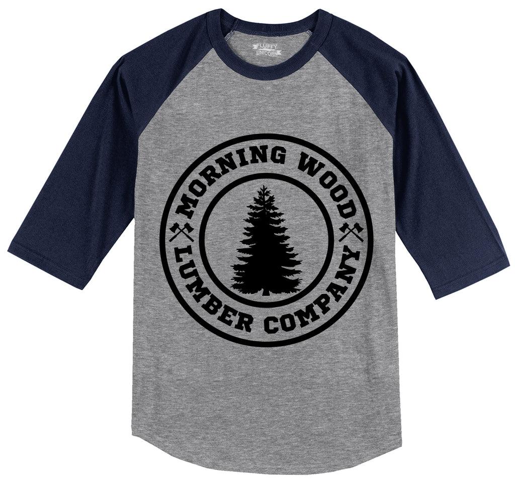 Morning Wood Lumber Company Mens 3/4 Sleeve Raglan Jersey