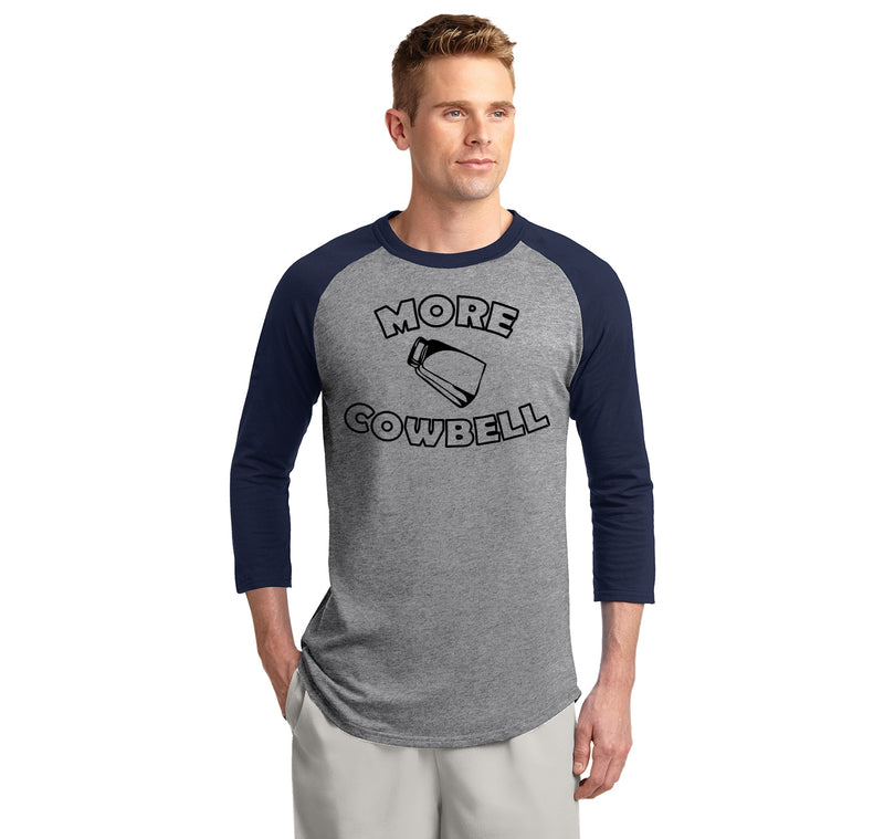 More Cowbell Mens 3/4 Sleeve Raglan Jersey