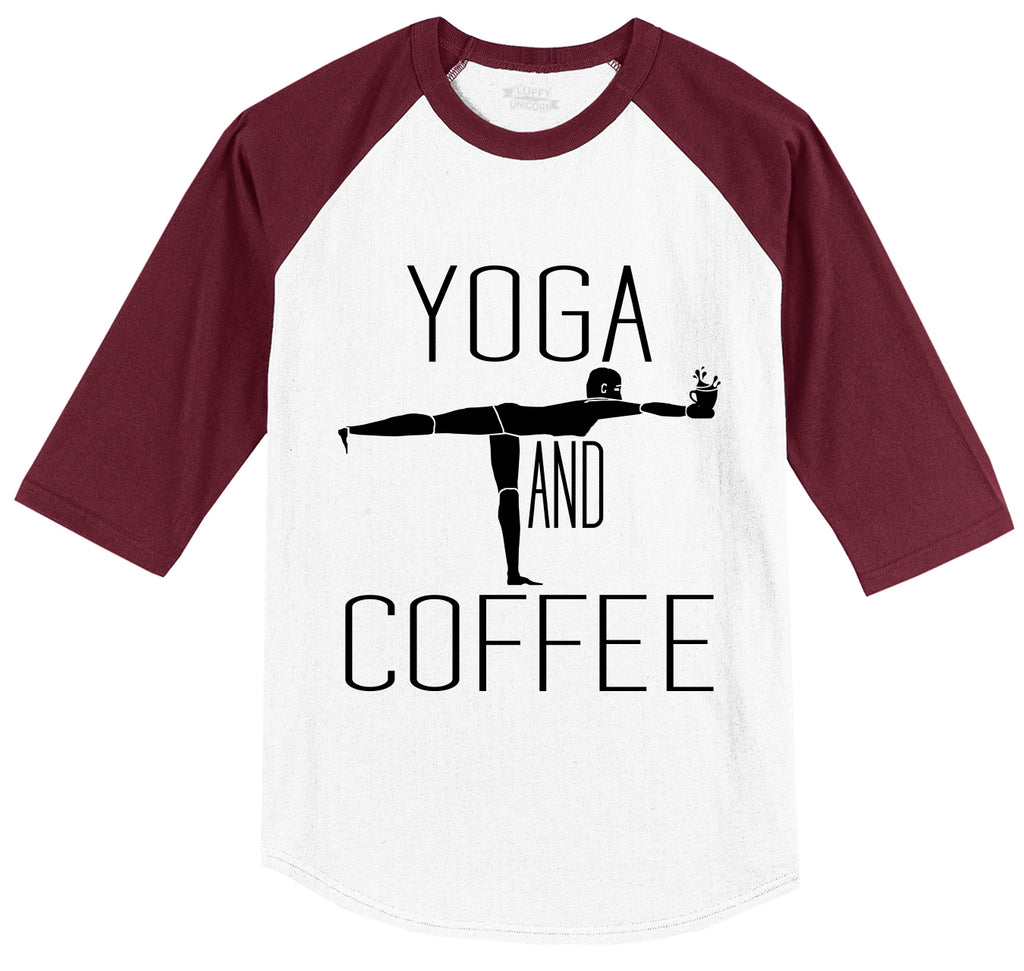 Yoga and Coffee Tee Mens 3/4 Sleeve Raglan Jersey