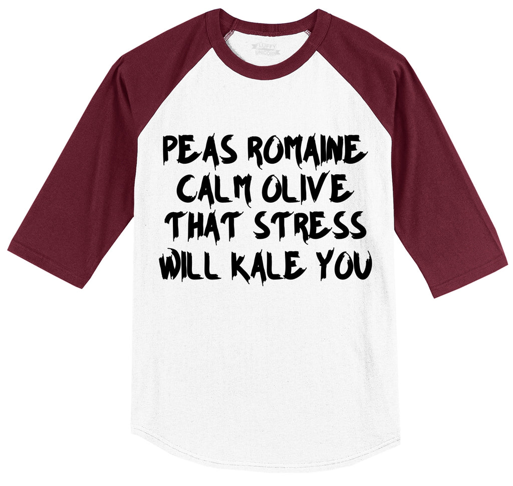 Peas Romaine Calm Olive Stress Kale You Mens 3/4 Sleeve Raglan Jersey
