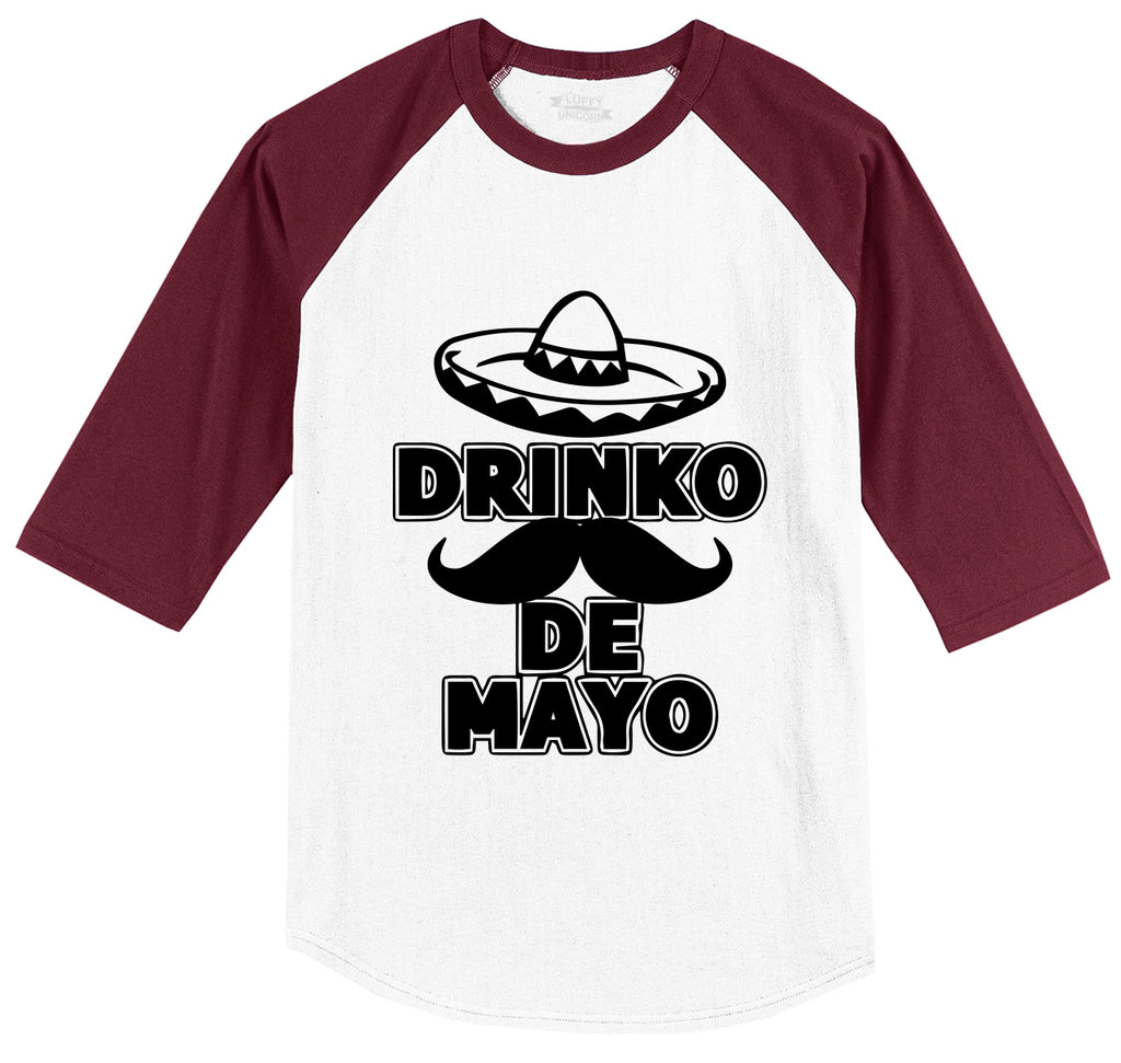 Cinco Drinko De Mayo Mexican Fiesta Party Tee Mens 3/4 Sleeve Raglan Jersey