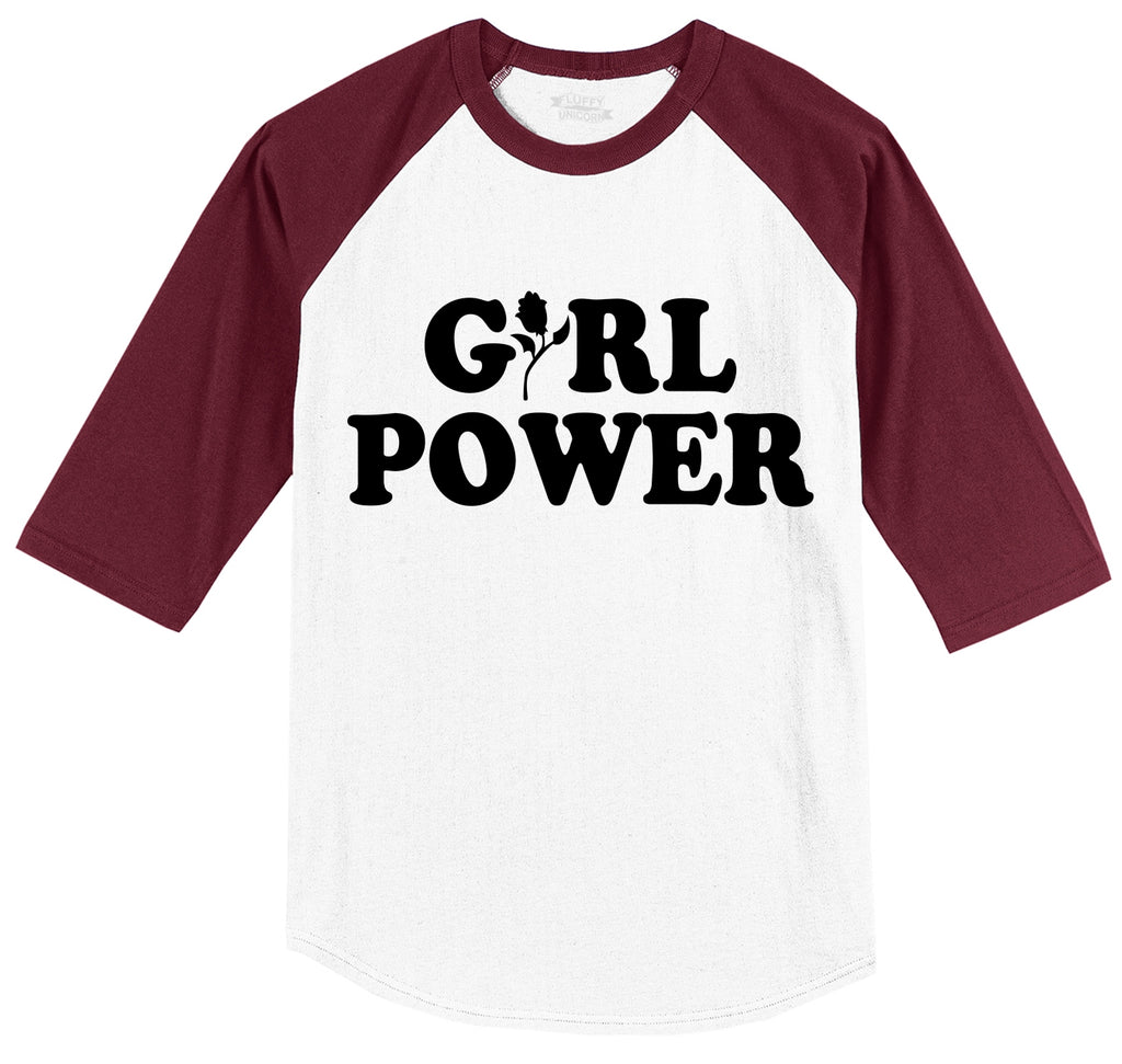 Girl Power Feminism Graphic Tee Sister Aunt Mother Girlfriend Wife Gift Tee Mens 3/4 Sleeve Raglan Jersey