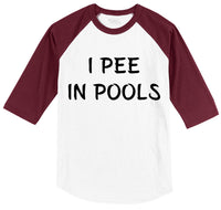 I Pee In Pools Mens 3/4 Sleeve Raglan Jersey