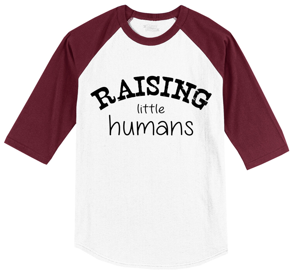 Raising Little Humans Mens 3/4 Sleeve Raglan Jersey