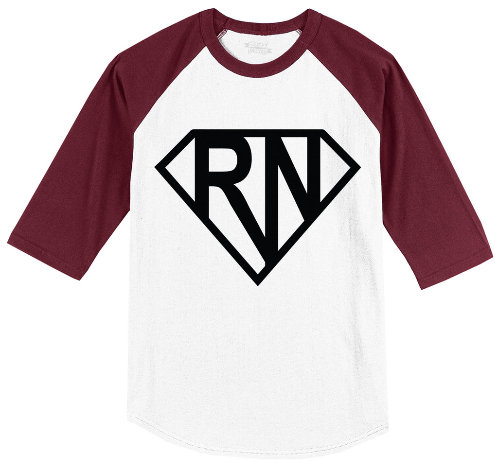 Super RN Super Nurse Tee Girlfriend Wife Mom Nurse Gift Tee Mens 3/4 Sleeve Raglan Jersey
