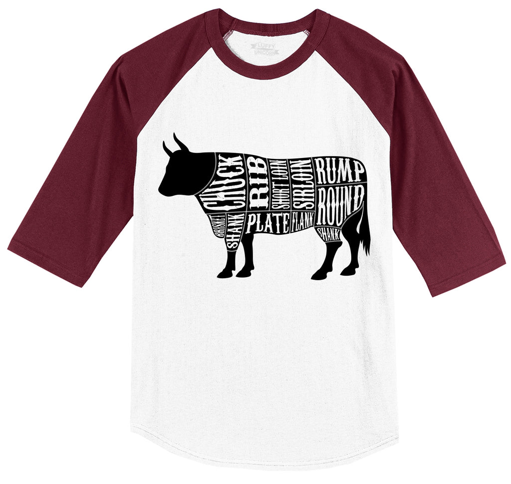 Bull Meat Lover Mens 3/4 Sleeve Raglan Jersey