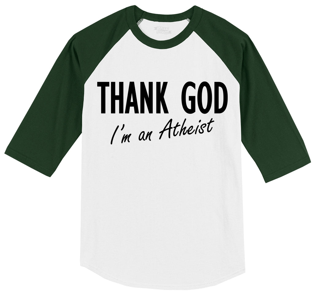 Thank God I'm An Atheist Mens 3/4 Sleeve Raglan Jersey