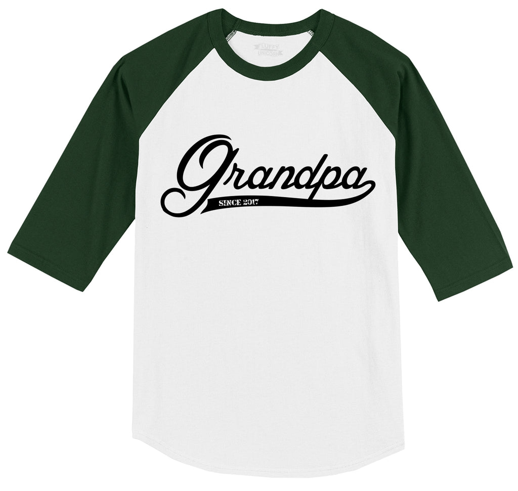Grandpa Since 2017 Cute New Grandfather Gift Shirt Mens 3/4 Sleeve Raglan Jersey