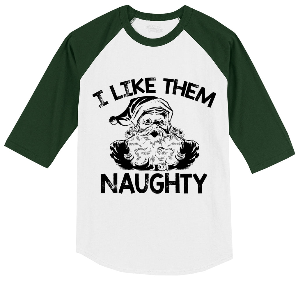I Like Them Naughty Mens 3/4 Sleeve Raglan Jersey