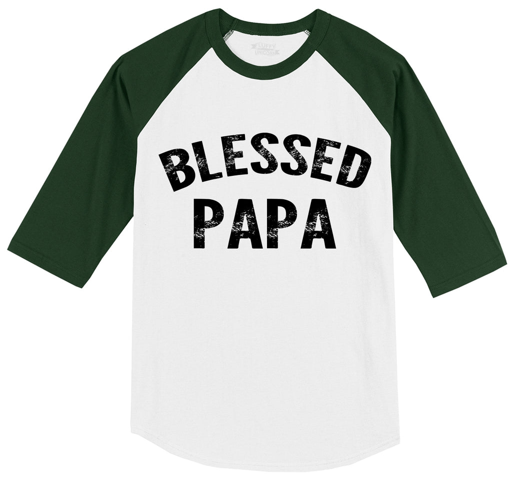 Blessed Papa Mens 3/4 Sleeve Raglan Jersey