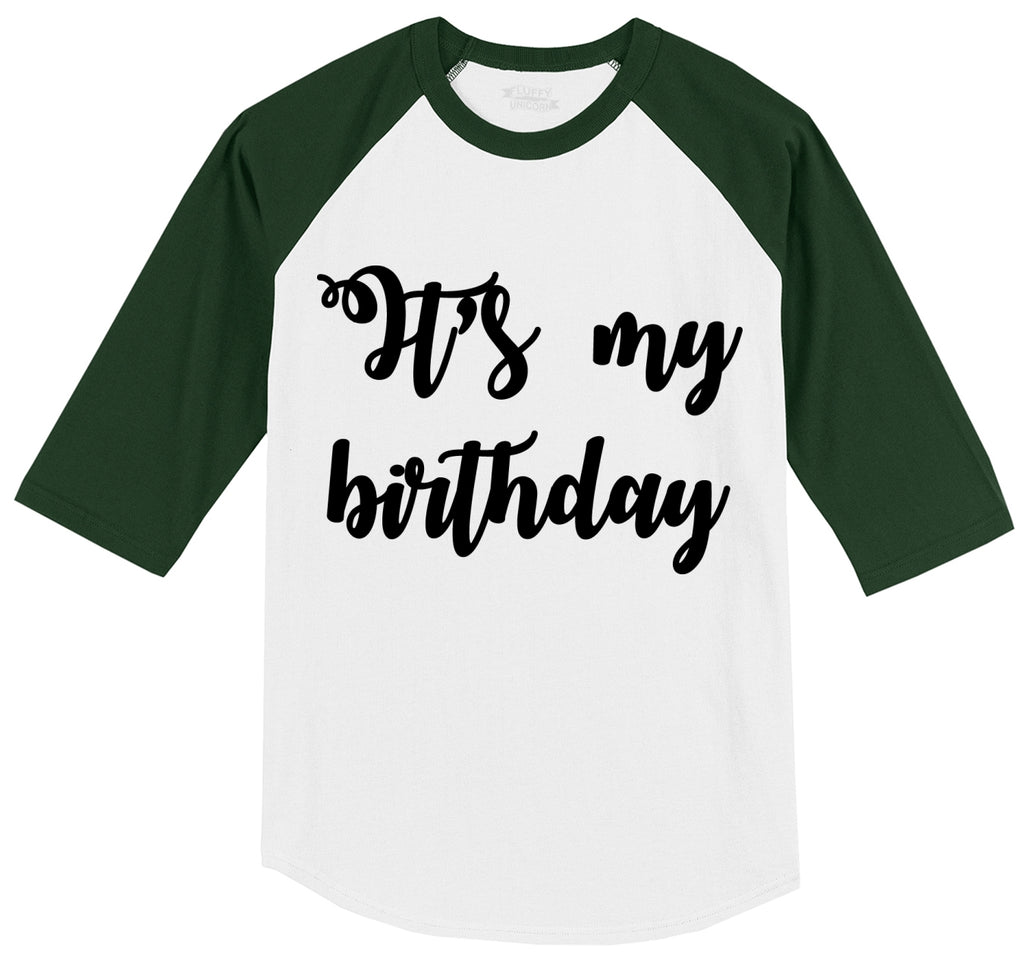 It's My Birthday Mens 3/4 Sleeve Raglan Jersey