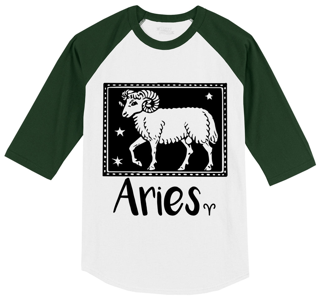 Horoscope Aries Tee Mens 3/4 Sleeve Raglan Jersey