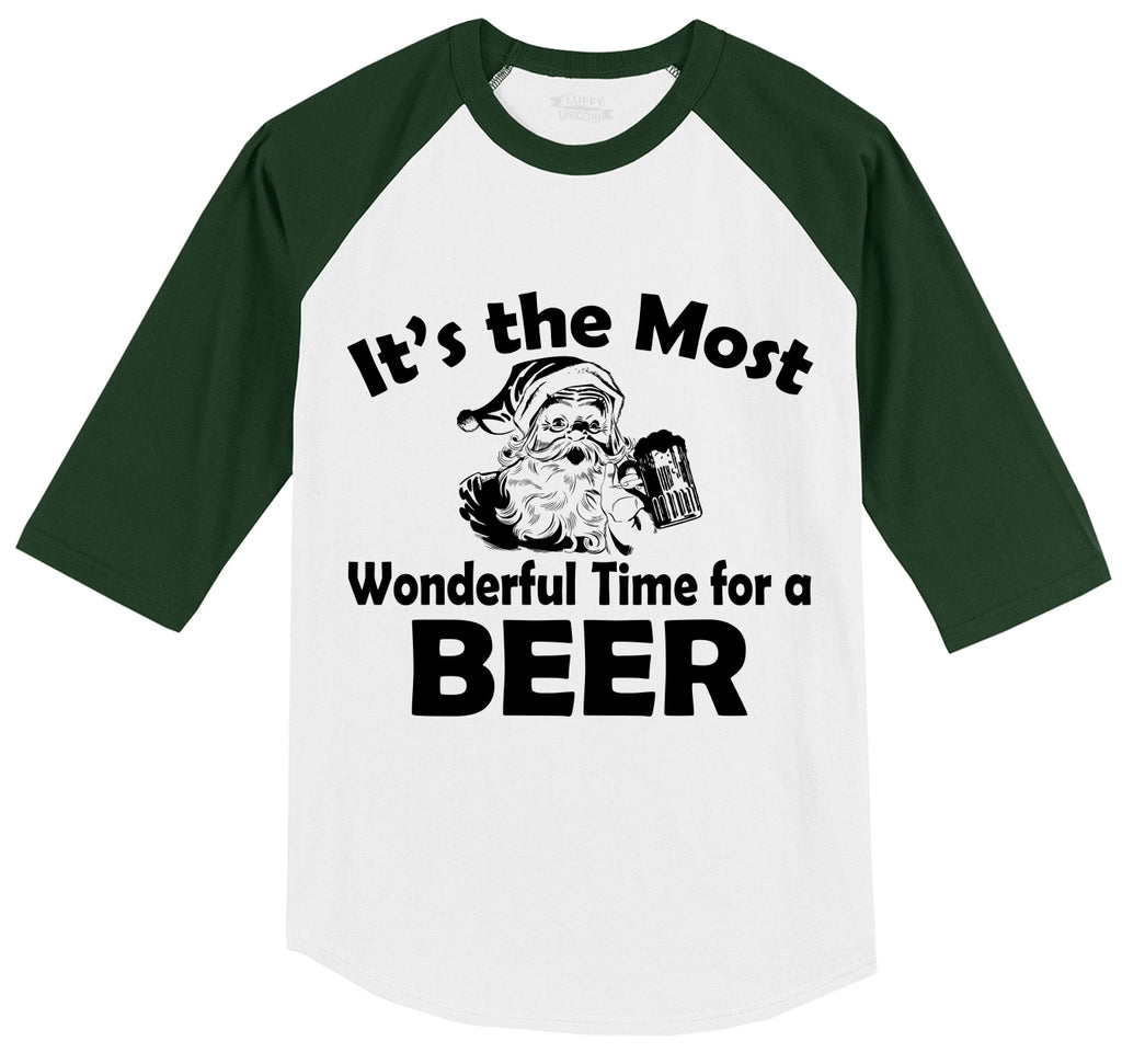 It's The Most Wonderful Time For A Beer Mens 3/4 Sleeve Raglan Jersey