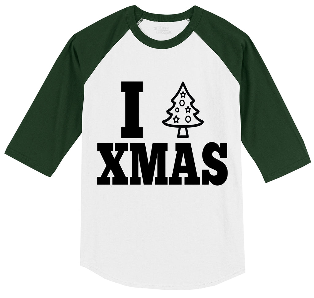 I Love Xmas Tee Christmas Party Tree Graphic Tee Mens 3/4 Sleeve Raglan Jersey