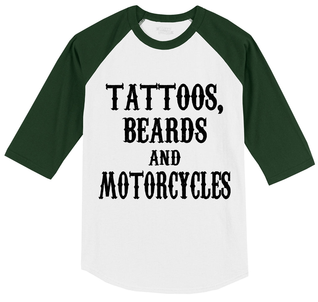 Tattoos Beards and Motorcycles Mens 3/4 Sleeve Raglan Jersey