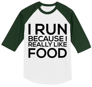 I Run Because I Really Like Food Mens 3/4 Sleeve Raglan Jersey