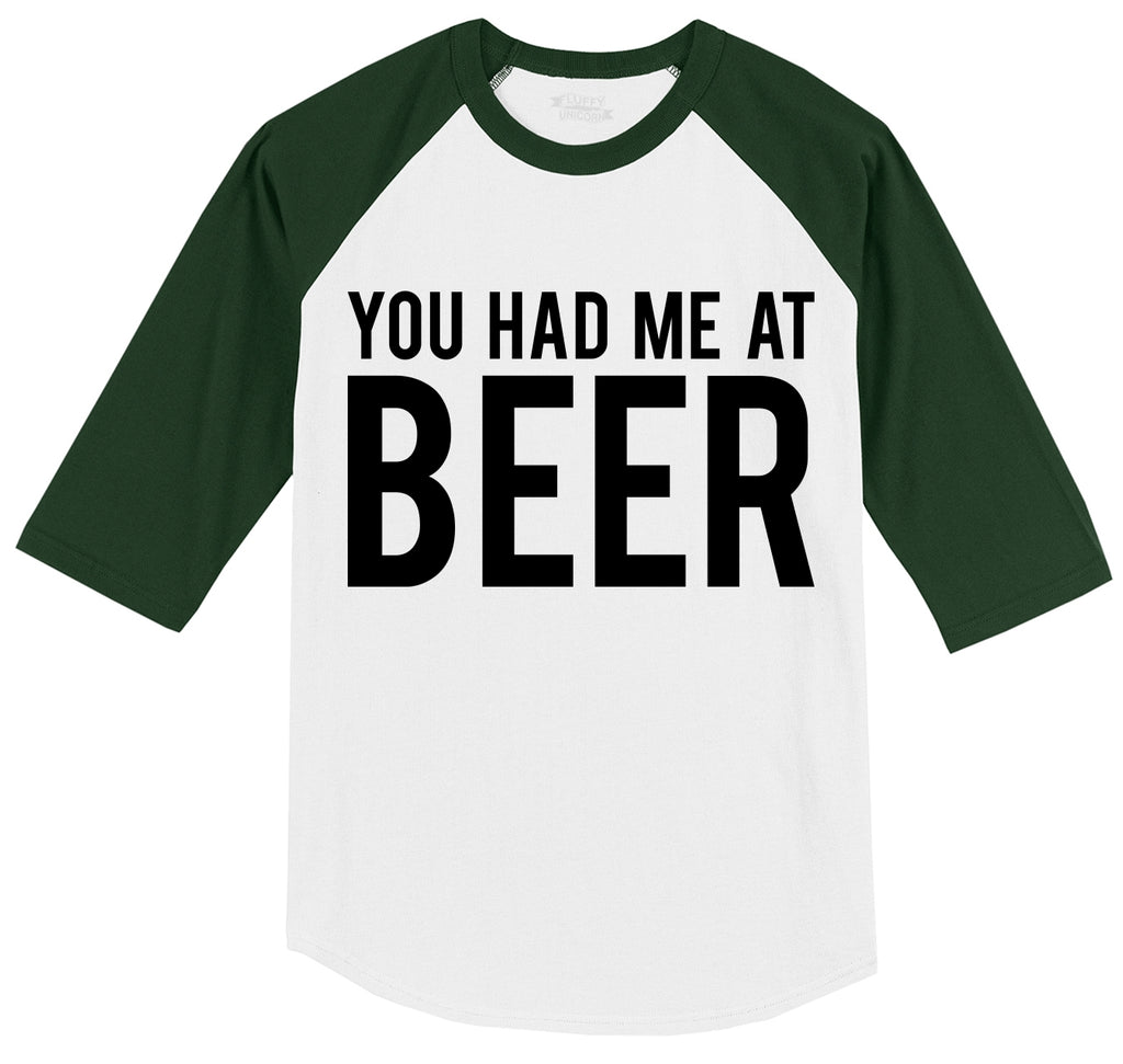 You Had Me At Beer St Patty's Day Tee Mens 3/4 Sleeve Raglan Jersey