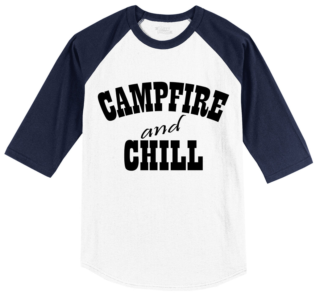 Campfire And Chill Mens 3/4 Sleeve Raglan Jersey