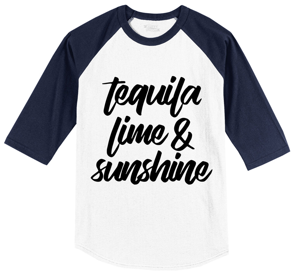Tequila Lime and Sunshine Mens 3/4 Sleeve Raglan Jersey